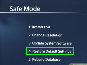 Reset the PS4 settings